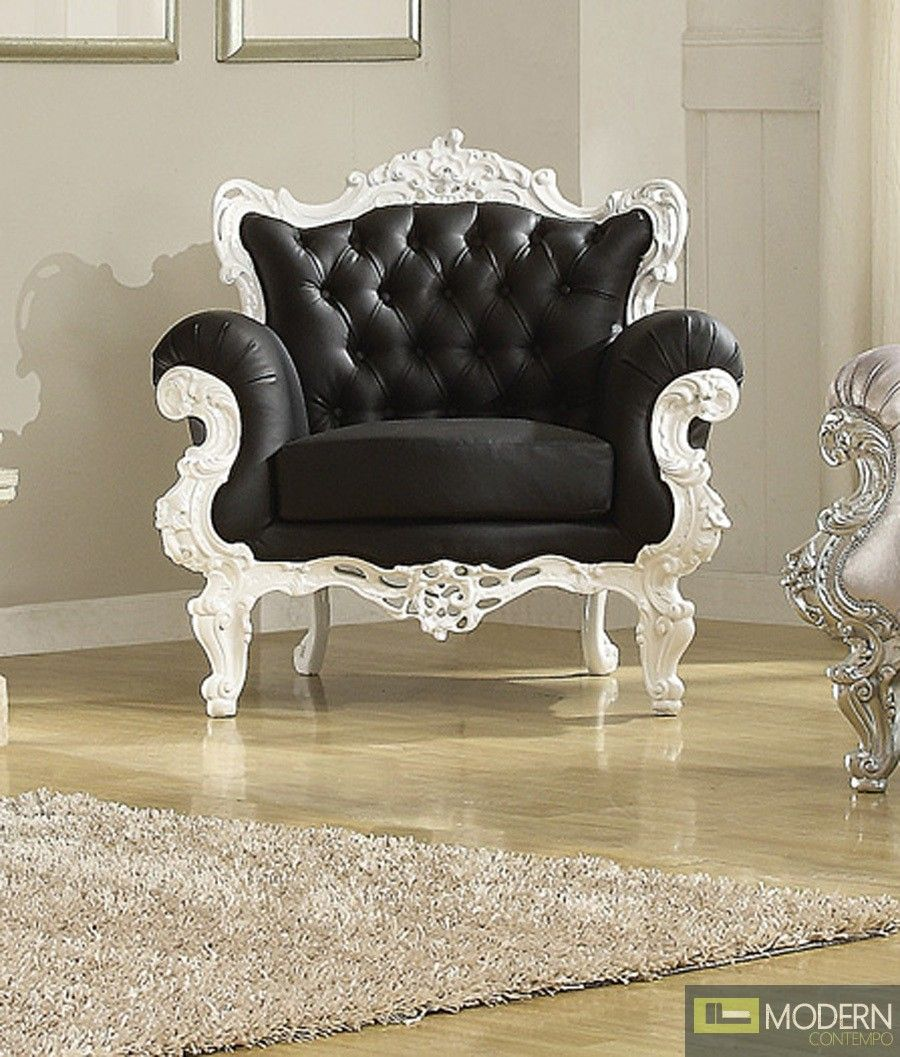 Blackwhite odessa french victorian style accent arm chair