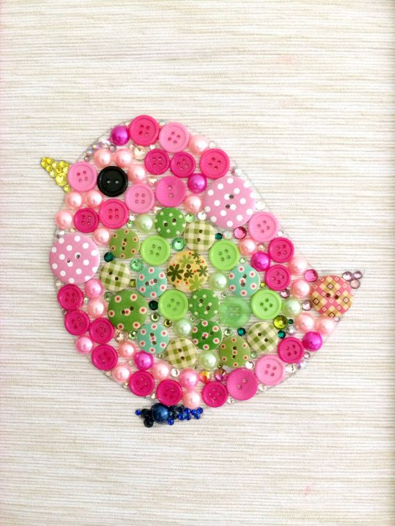 Baby Bird Button Art Nursery Artwork Pink by AmeliaMakesThree