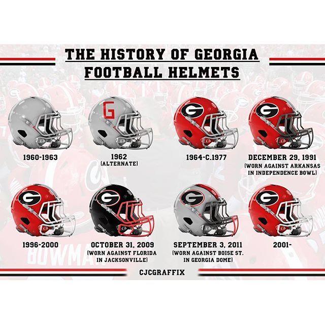 History Of Uga Helmets Georgia Bulldogs Georgia Dawgs Uga Bulldogs