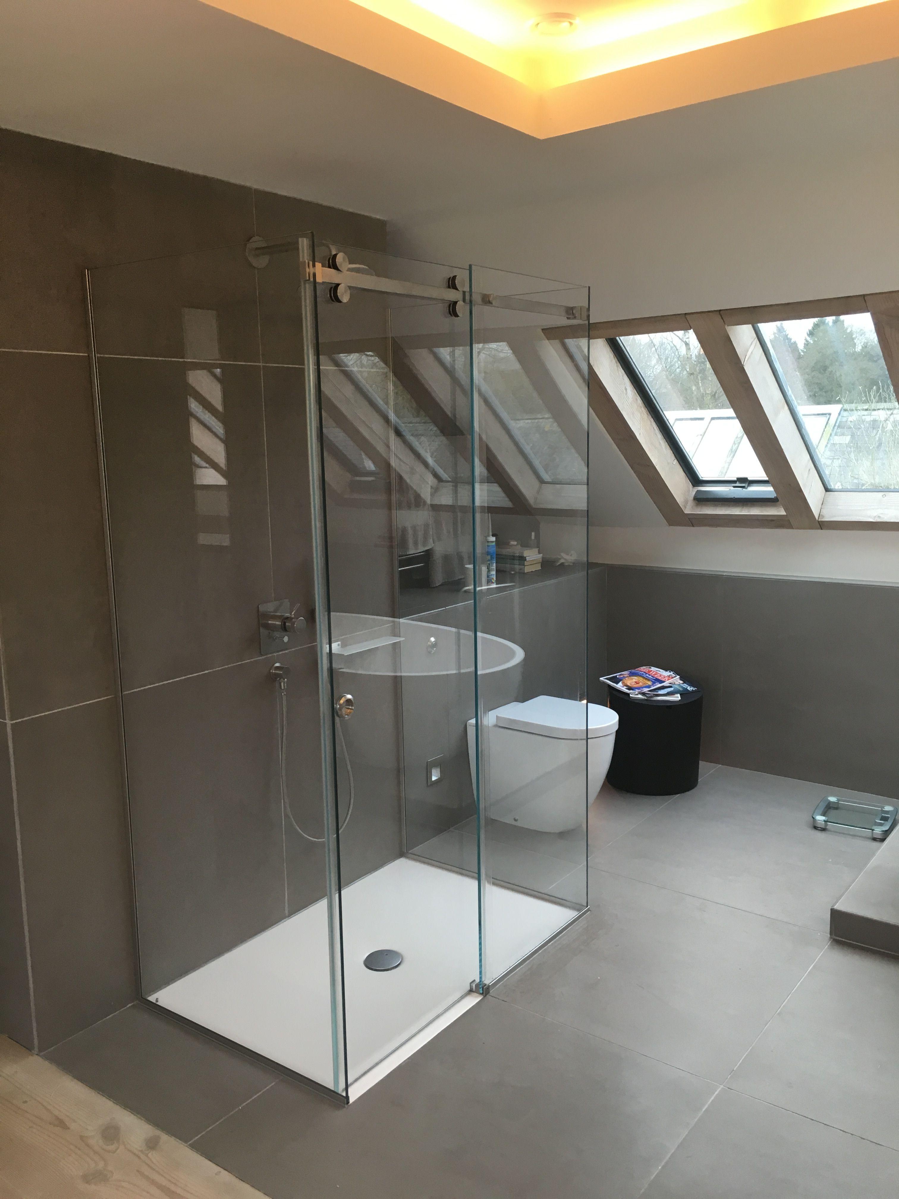 Frameless 3 sided sliding shower enclosure - installed in ...
