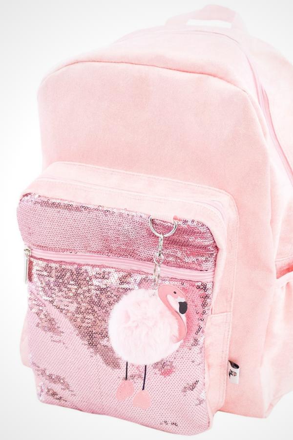 84fc8da0e Yoobi Standard Backpack with Pom Pom Keychain and Pink Velvet Flamingo  design. The backpack includes