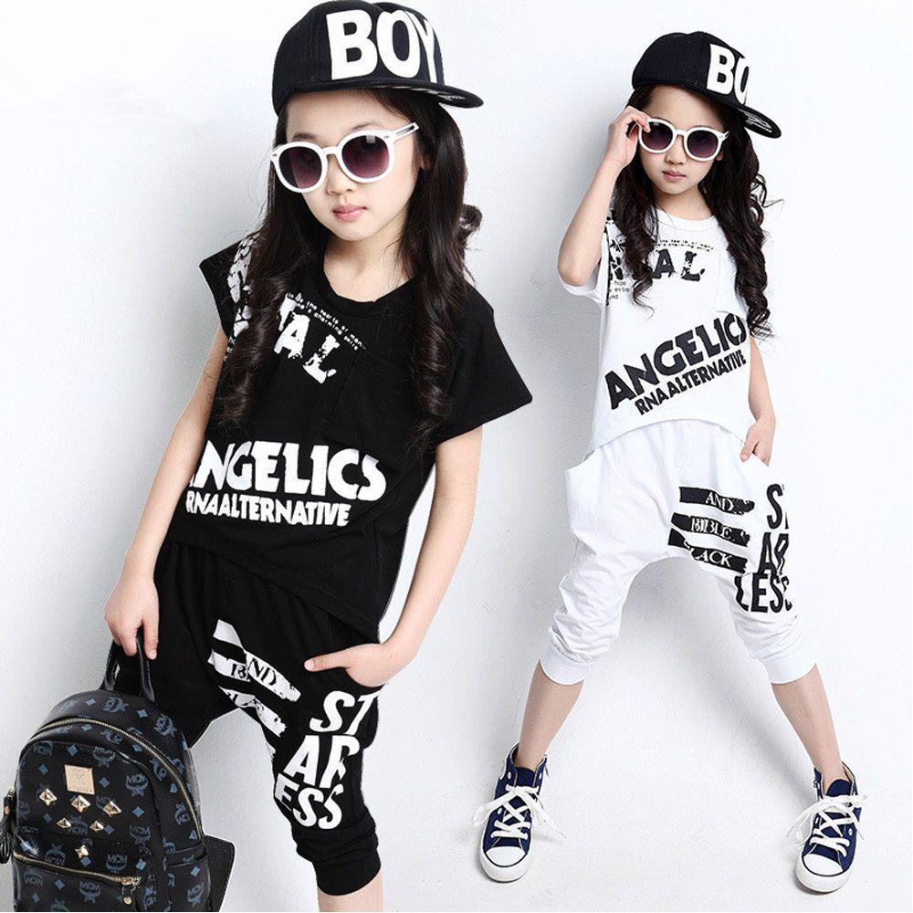 962bd05826bd Girls Boys Modern Children Jazz Hip Hop Dancewear Kids Dance ...