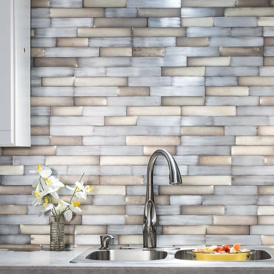 Peel And Stick Tile Self Adhesive Metal Wall Bath Kitchen Backsplash Silver Gold Wall Tiles Ideas Of Stick On
