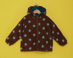 Toby Tiger Padded Brown Cord Jacket with Blue Star Print. Available at Wauwaa http://bit.ly/1tpRqHF #AutumnDays @WAUWAA #AutumnDays