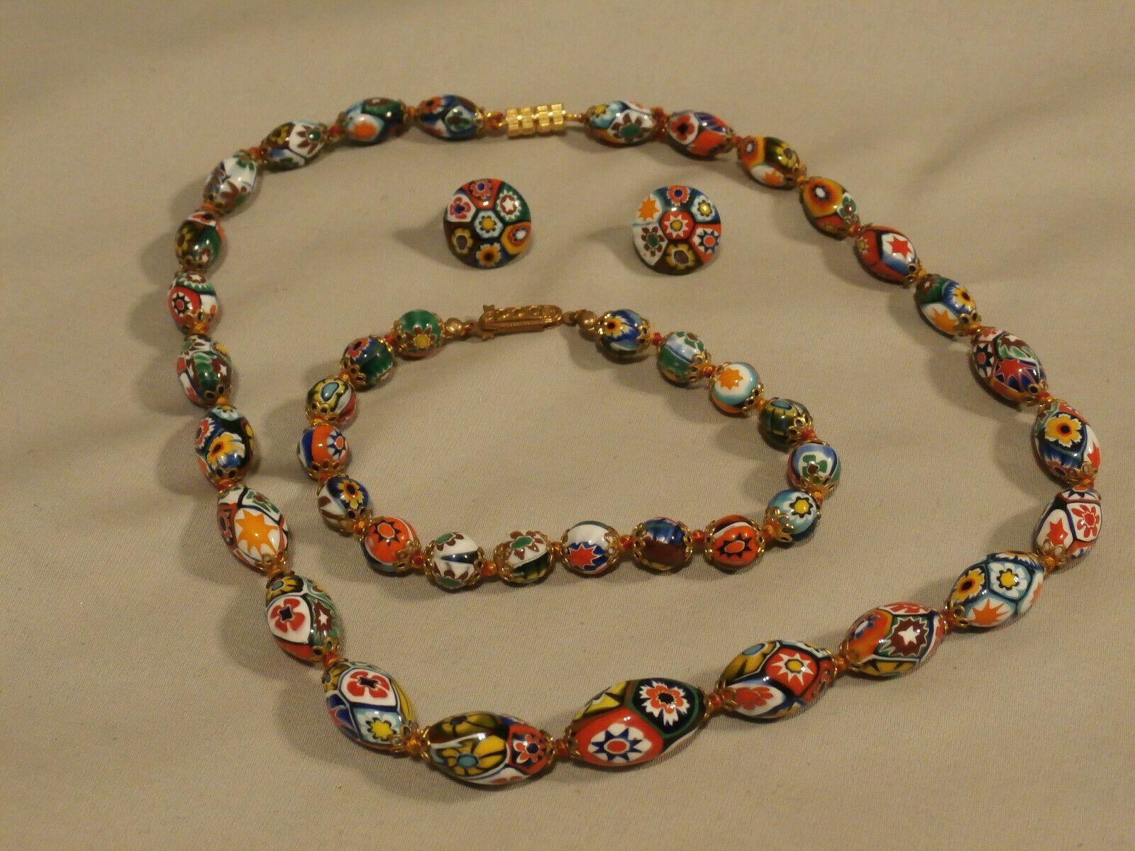 Vintage Murano Glass Graduated Millefiori Bead Necklace Bracelet Earring Set Ebay 85 Bracelet Earring Set Earring Set Necklaces Bracelets