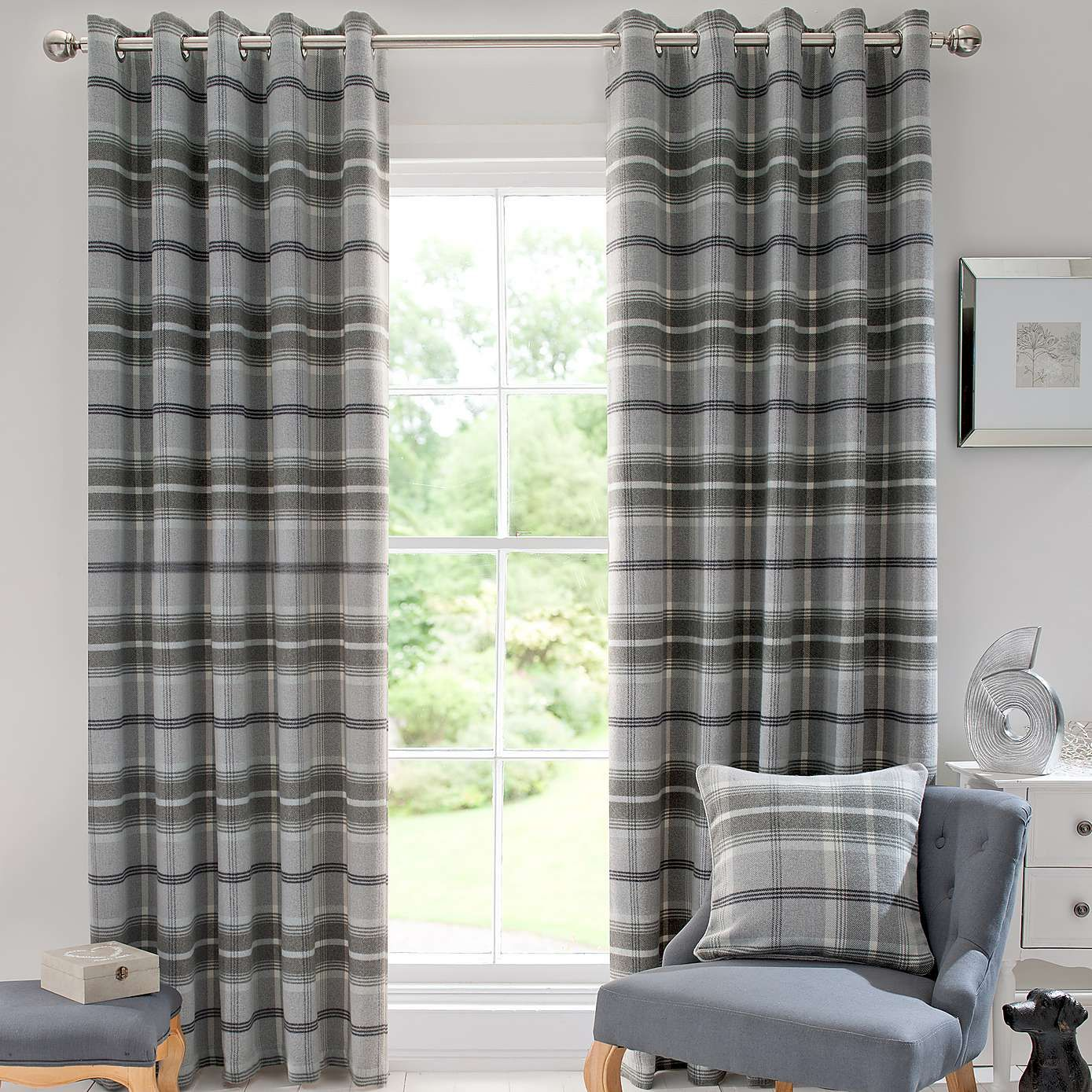 Windsor teal eyelet curtains harry corry limited - Dove Grey Highland Check Lined Eyelet Curtains Dunelm