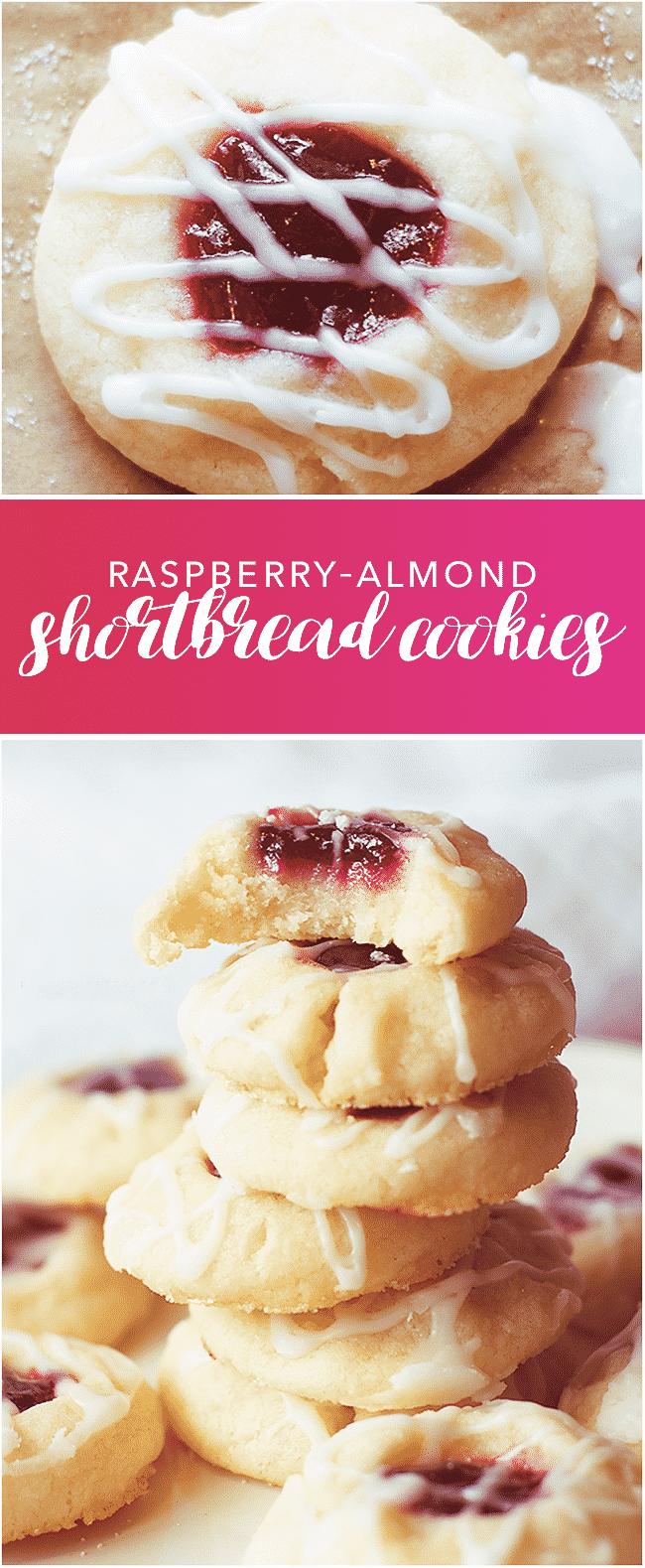 Raspberry Almond Shortbread Cookies #shortbreadcookies