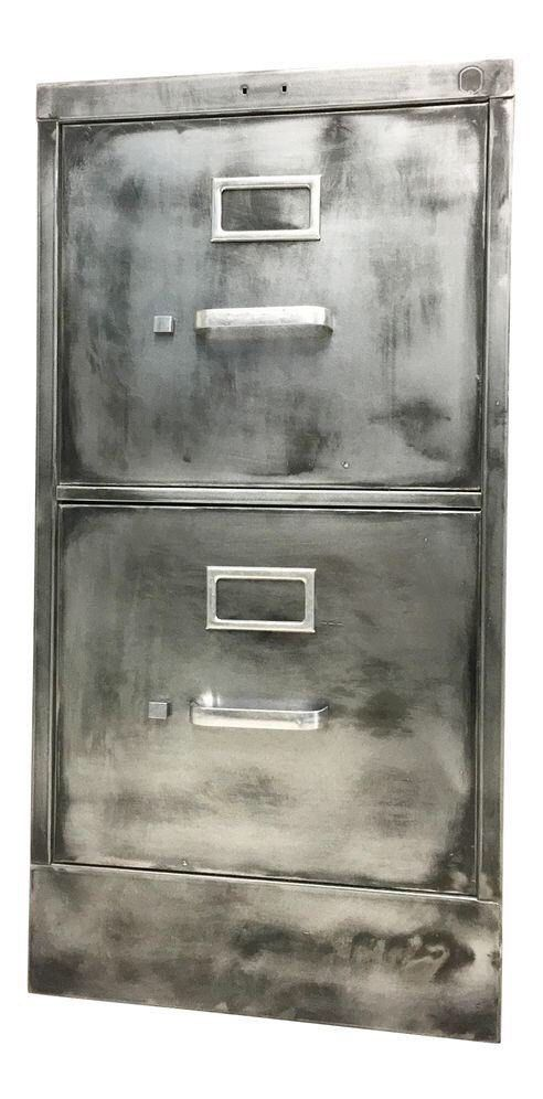 Vintage file cabinet metal brushed steel cabinet with two drawers