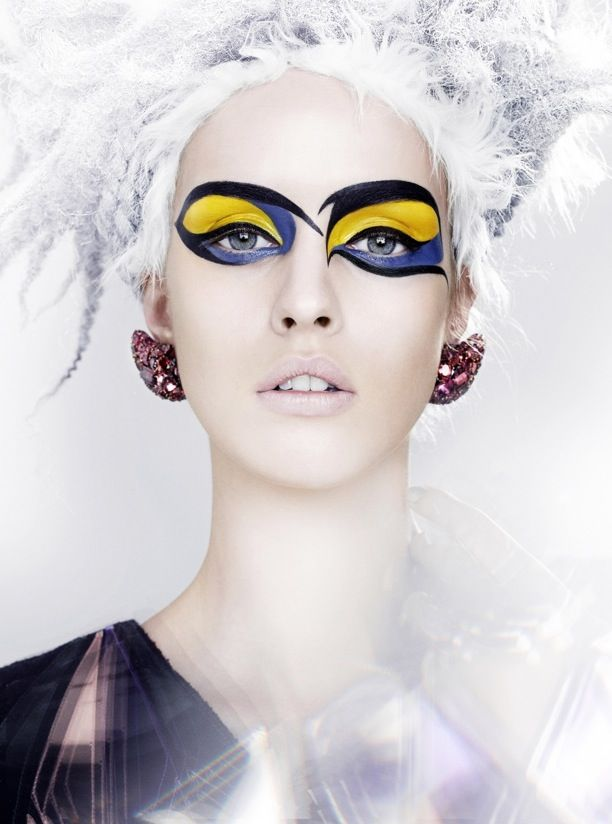 Vogue Japan Model: Julia Frauche Photographer: Kenneth Willardt Styled by: Tina Chai Beauy Editorial Face Paint Make Up Frosted Metallic Shimmer Lace White Large Gem Earrings Bright Eye Dramatic Make up NudeLips