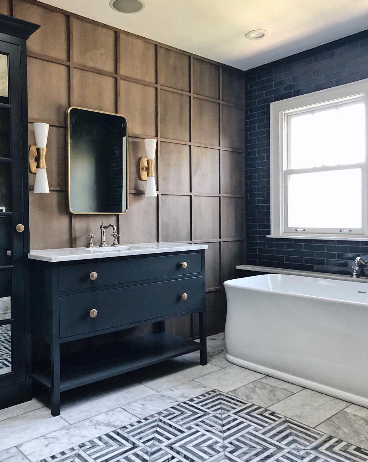 Jean Stoffer Design Bathroom Wall Grid Molding Panelling