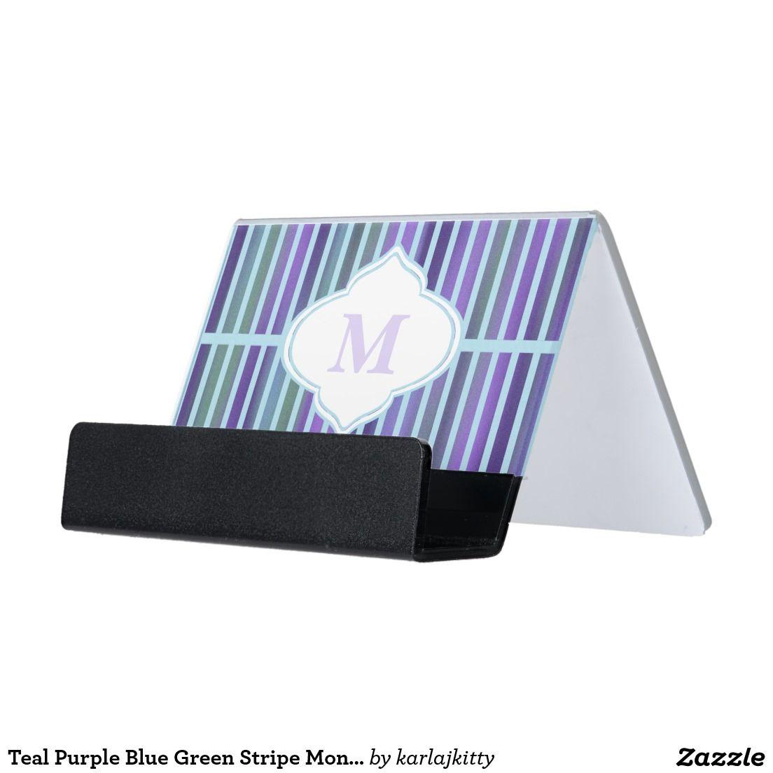 Teal Purple Blue Green Stripe Monogram Desk Business Card Holder