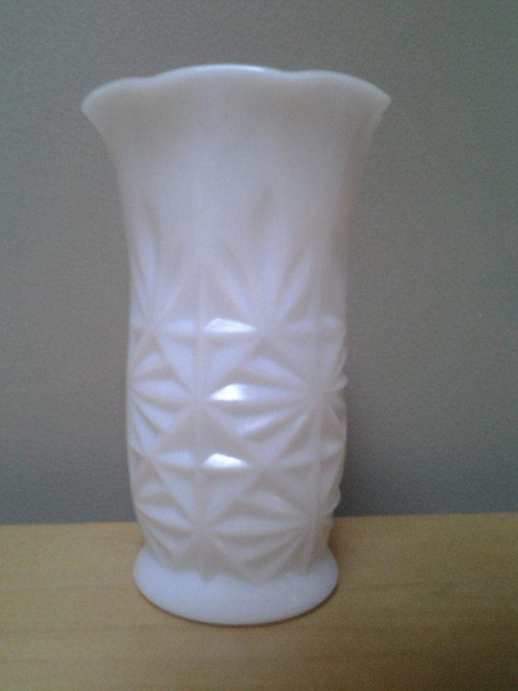Anchor Hocking Small Cut Milk Glass Vase Rare 575 Pinterest