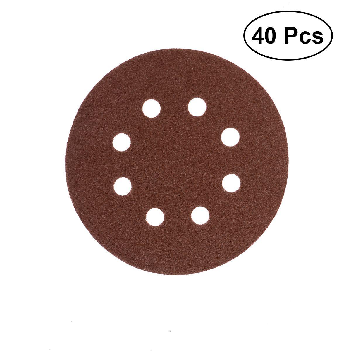 40pcs 8 Hole Abrasive Sandpaper 5 Inch Sanding Discs 60 80 120 210 Grit For Bosch Pex 220 300 Random Orbital Sander 125mm S Izobrazheniyami