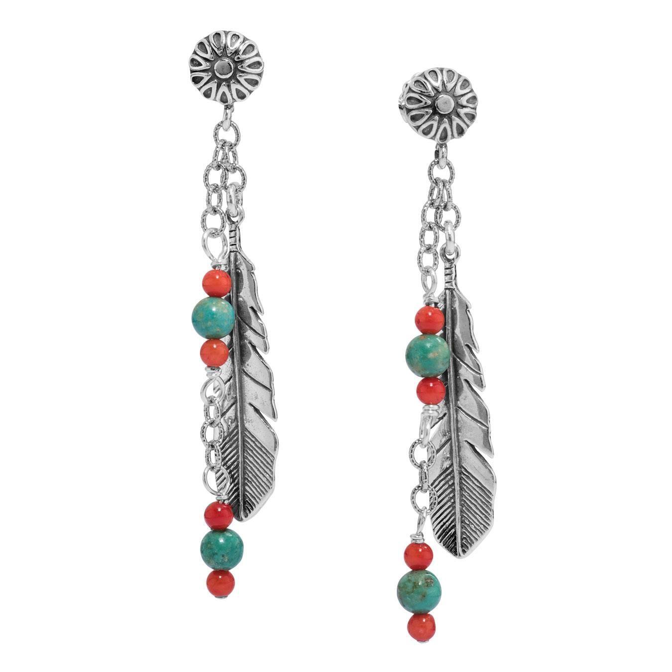 American West Multi Gemstone Feather Dangle Earrings