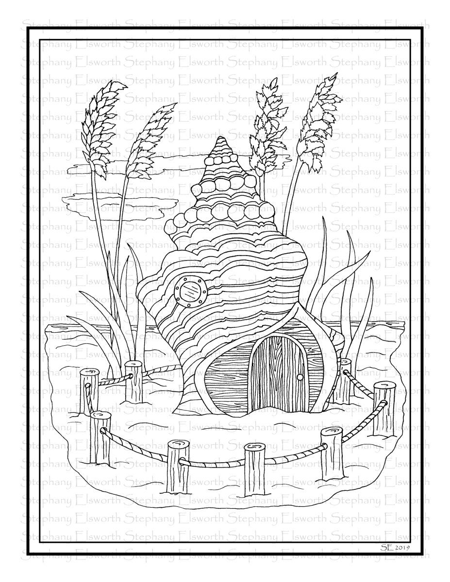 Seashell Fairy Beach House Printable Coloring Page Color With Steph Fairy Coloring Pages Coloring Pages Coloring Books