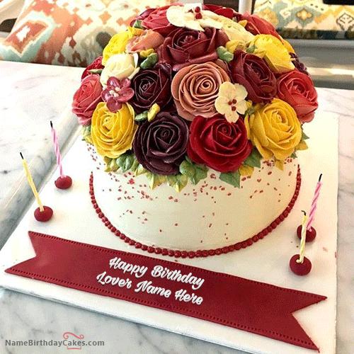 Creative Roses Birthday Cake With Name Birthday Cake With Photo Cake Name Latest Birthday Cake