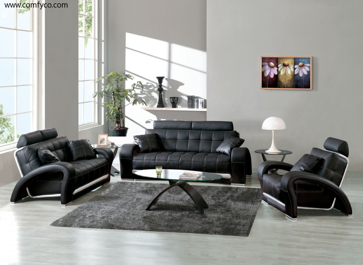 Living Room Sets Designs black leather sofa set designs for living room interior -- http