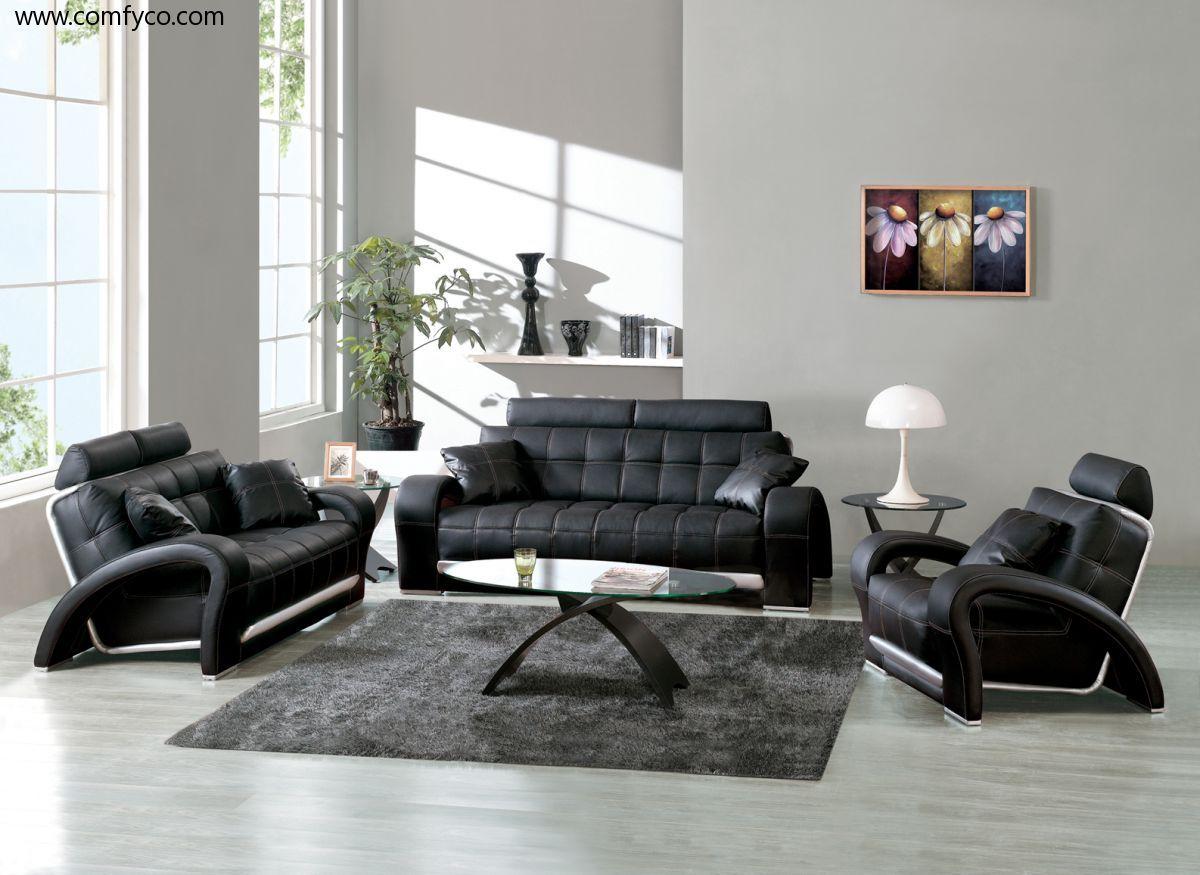 Bon Black Leather Sofa Set Designs For Living Room Interior    Http://kaamz
