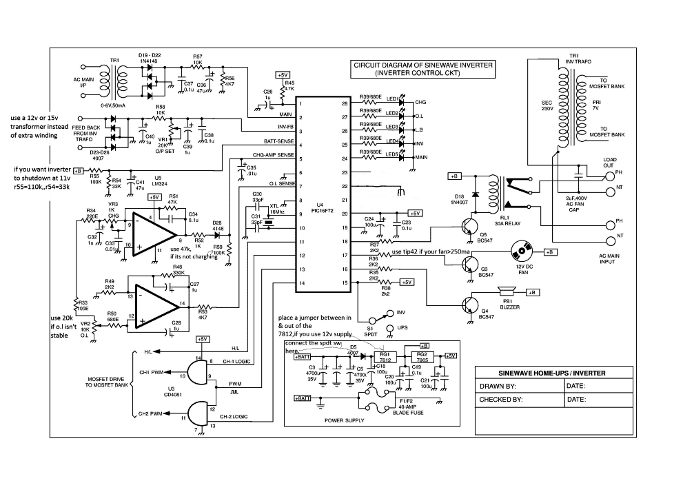 Pleasing Sinewave Ups Using Pic16F72 Homemade Circuit Projects Circuit In Wiring 101 Taclepimsautoservicenl