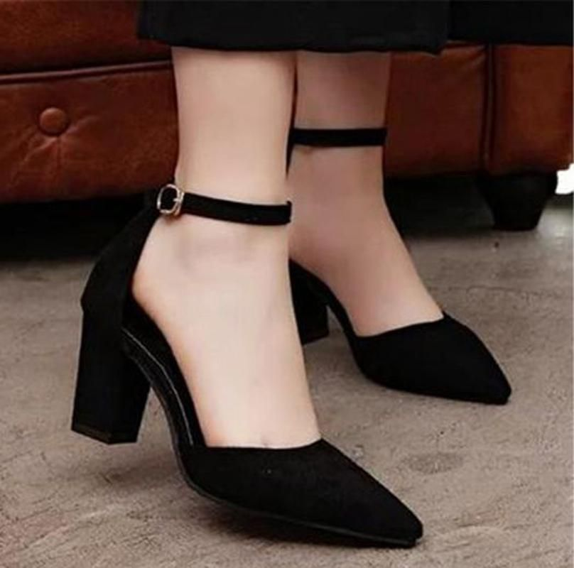 Womens Suede Block Heels Mid Heel Pumps Ankle Straps Sandals Prom Shoes Party