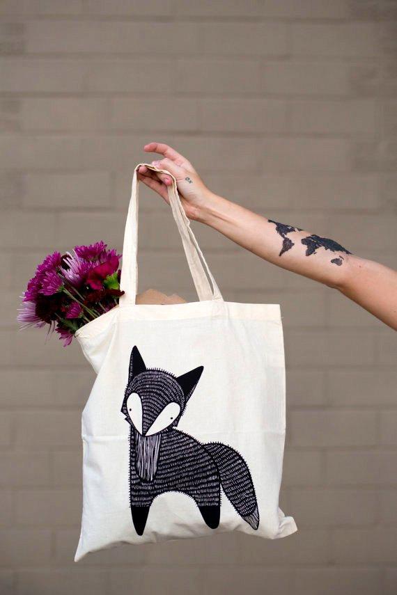a9f55d475 Fox bolsa Fox bolsa de mandado, bolsa de regalo Fox, bolsa de tela Fox,  bosque bolsa, bolso Fox del mercado del agricultor, regalo para ella