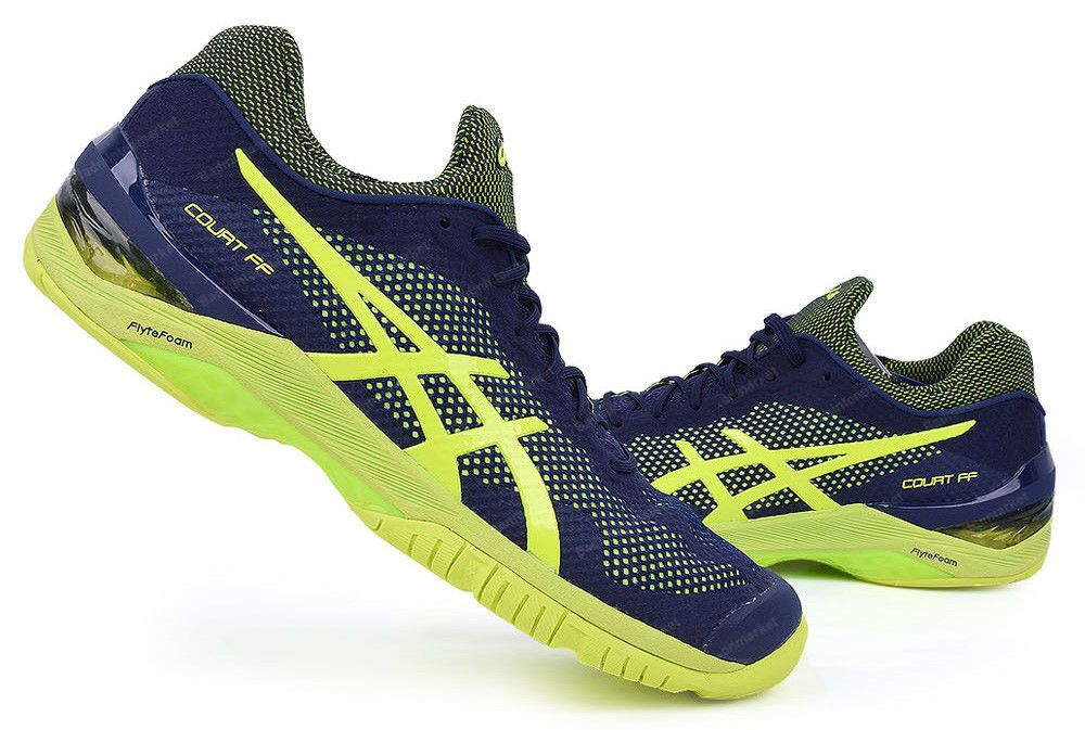 77cc638438d453 Asics Court FF Men's Tennis Shoes Racket Racquet Navy Yellow GEL E700N-4907  #ASICS