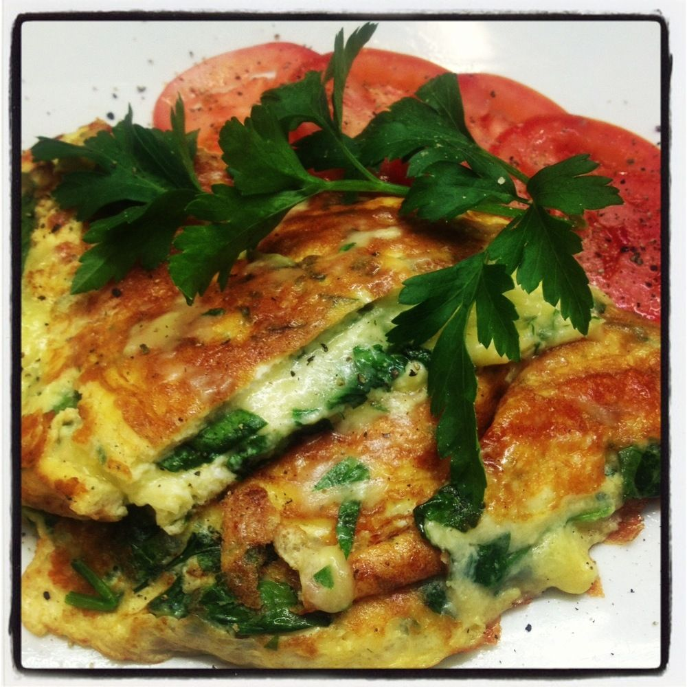 baby spinach & herb omelette