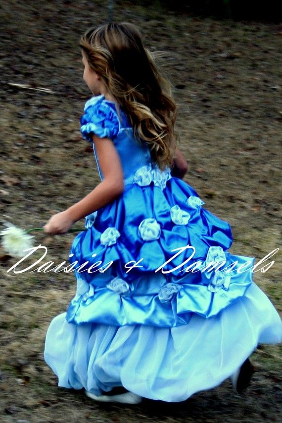 Flower girl dress Custom blue w/light blue by DaisiesandDamsels, $299.00
