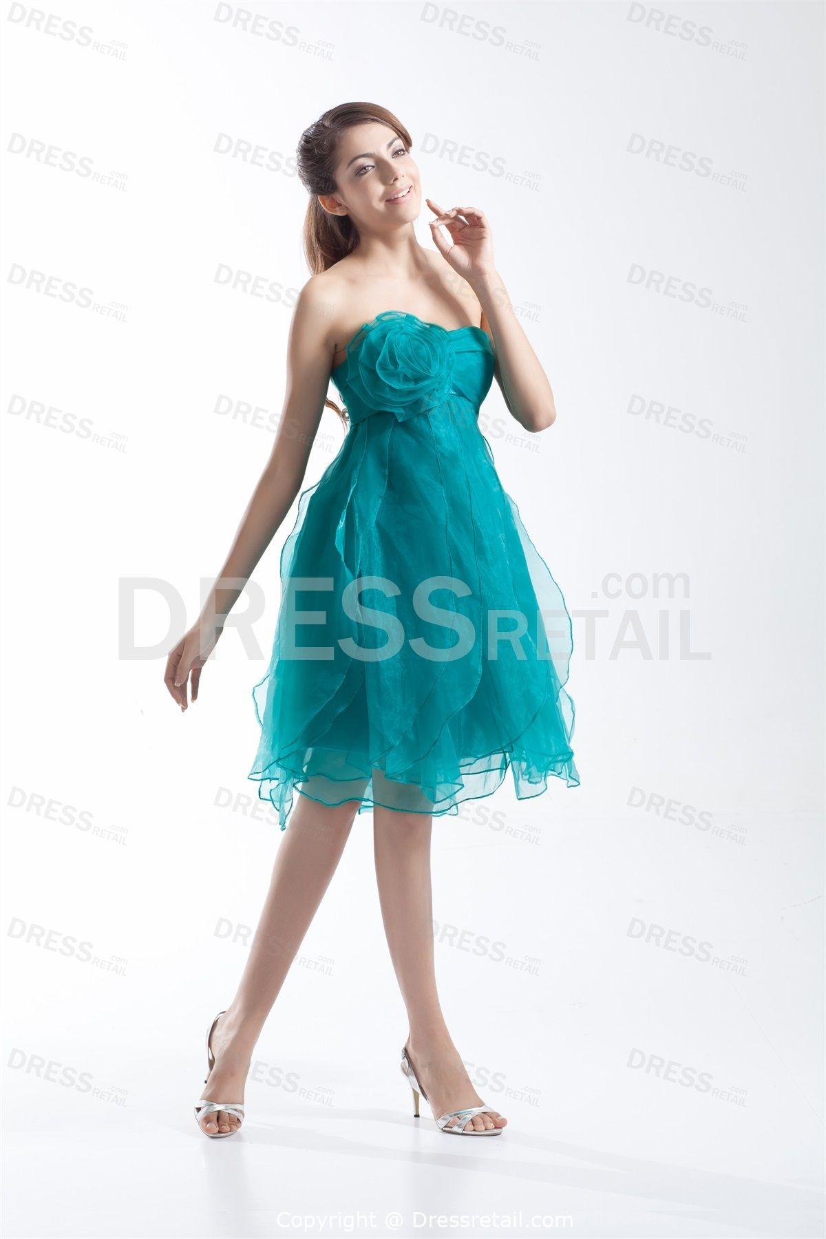 Dark turquoise kneelength aline organza cocktail dress homecoming