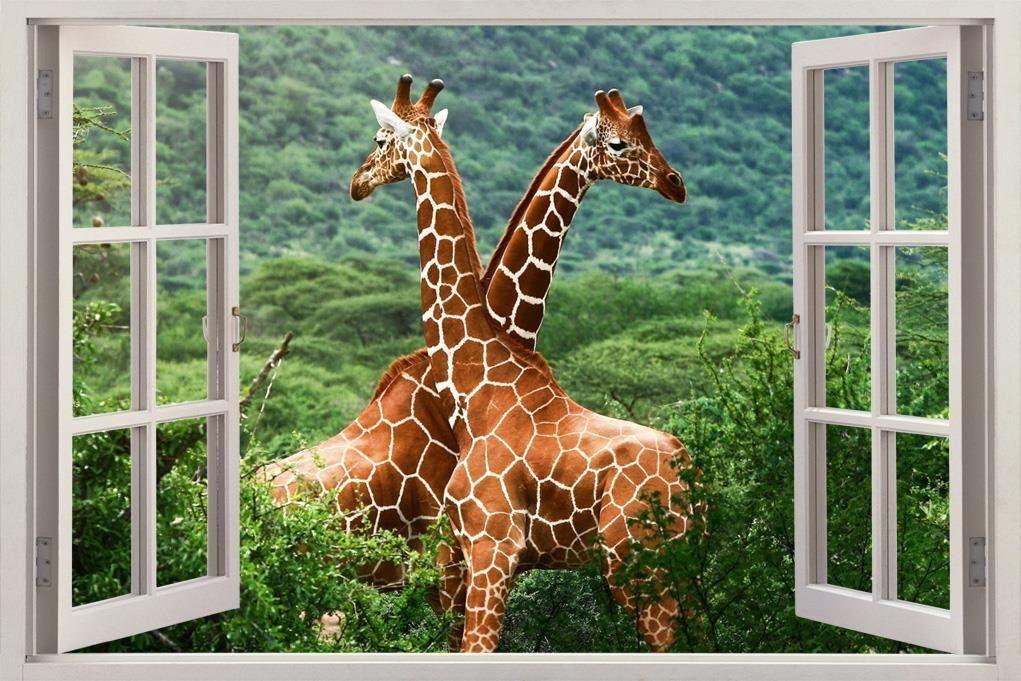 GIRAFFES FOREST 3D Window View Decal WALL STICKER Decor