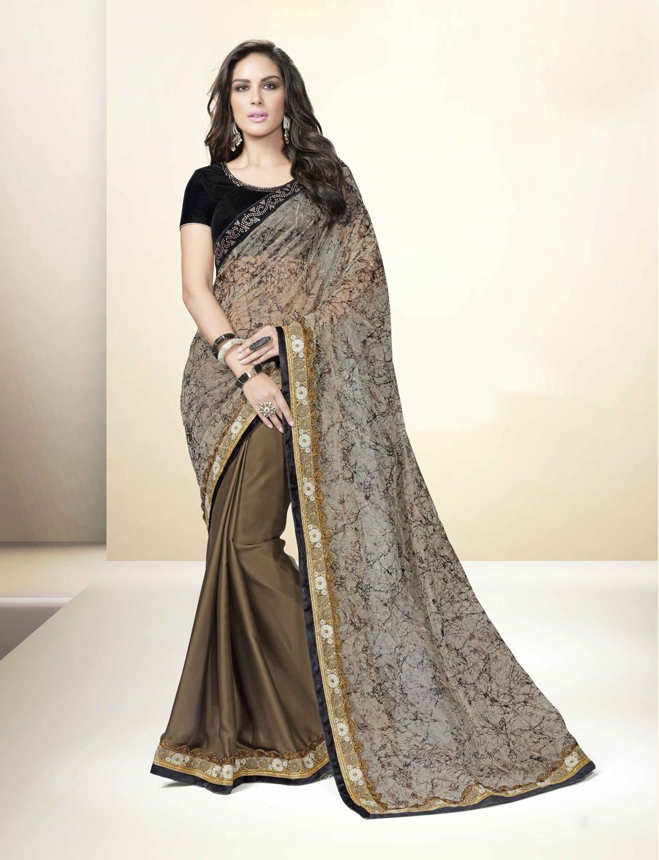 Beige net party wear saree womenus ethnic wear pinterest