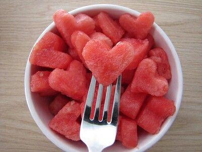 Watermeloen hartjes