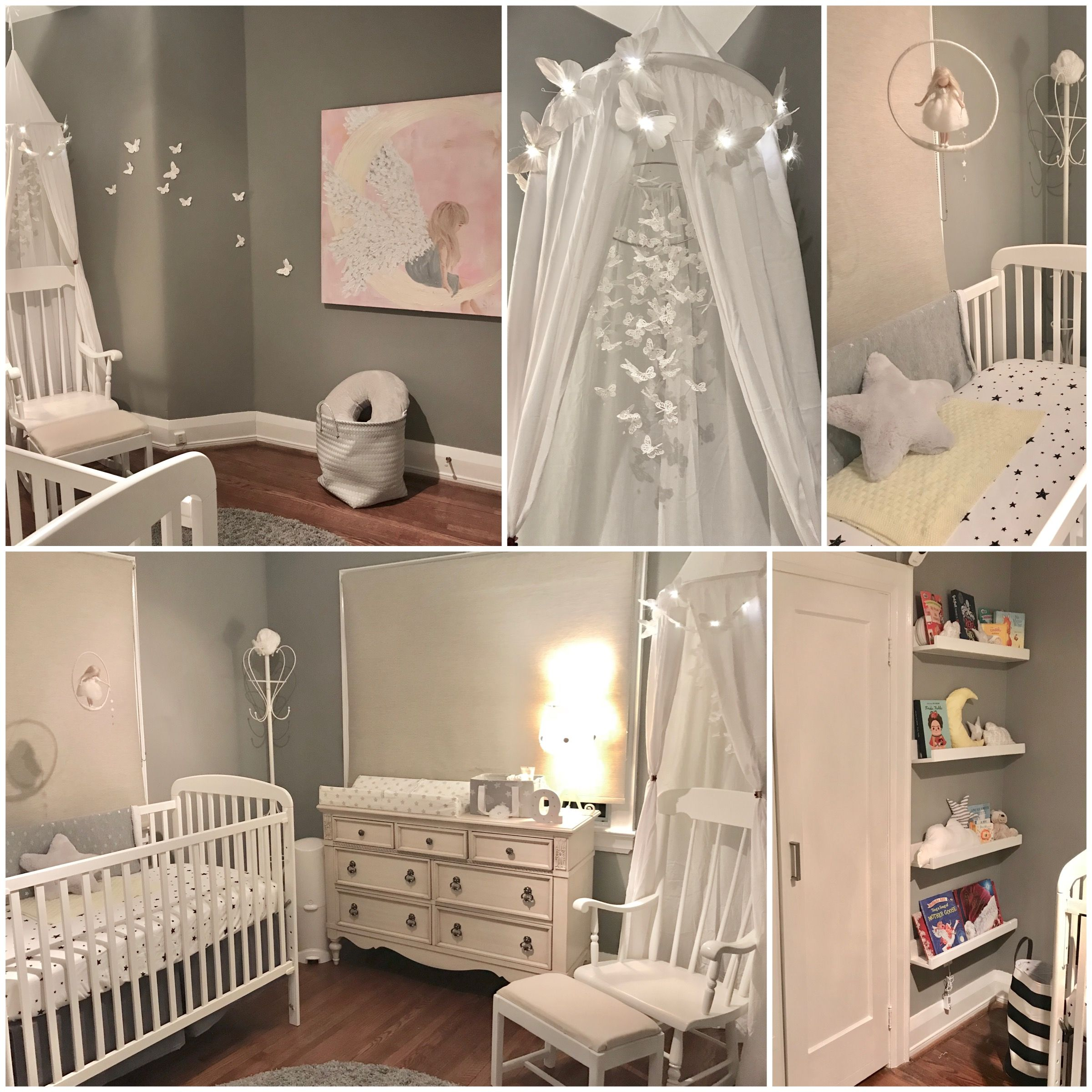 Nursery Inspiration By Kimberly Ap Neutral Grey White Erfly Stars Moon Clouds Angel
