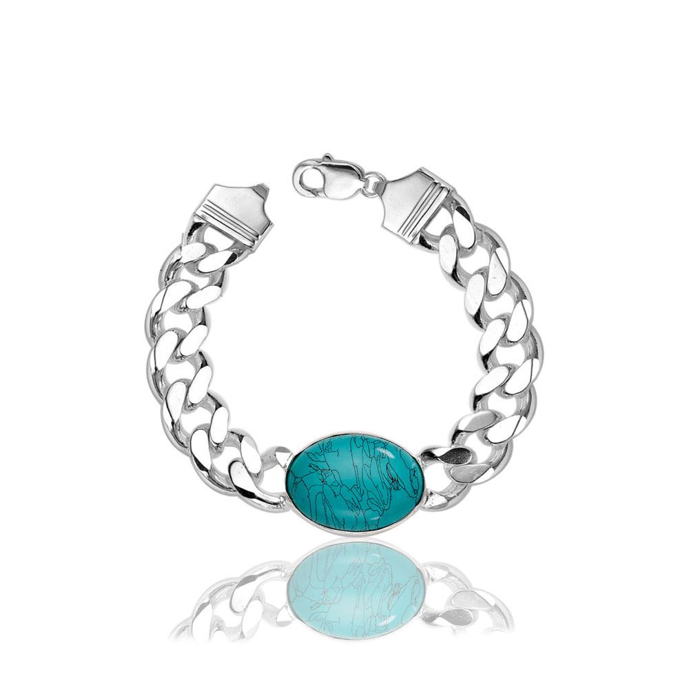 Hot bracelet salman khan silver semi precious oval turquoise