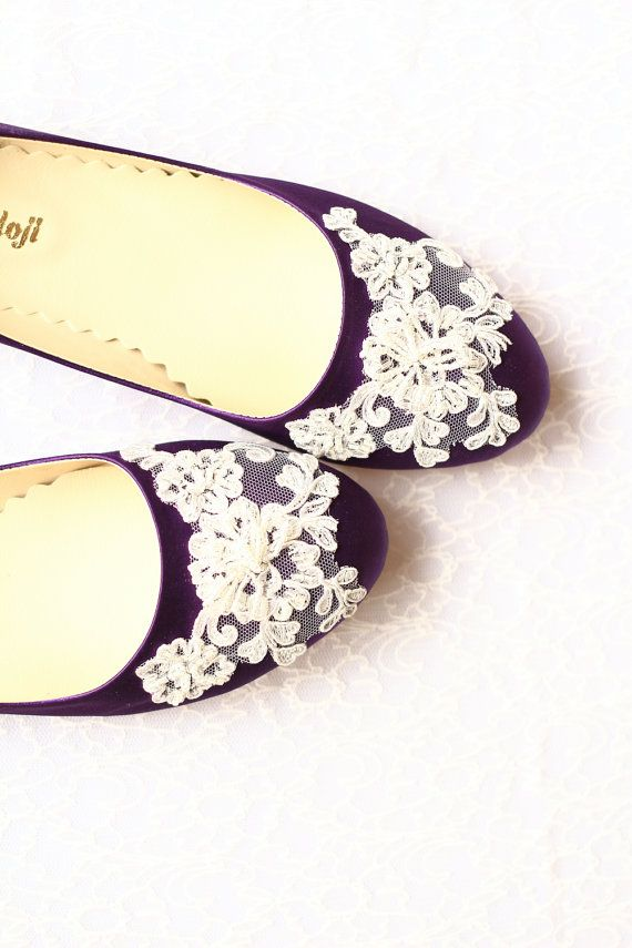 7b8c956ef79f Wedding Flat Shoes Purple Satin Bridal Ballet Flats with Beaded Lace Bride  Engagement Special Night Size 10 (US) -  88.90