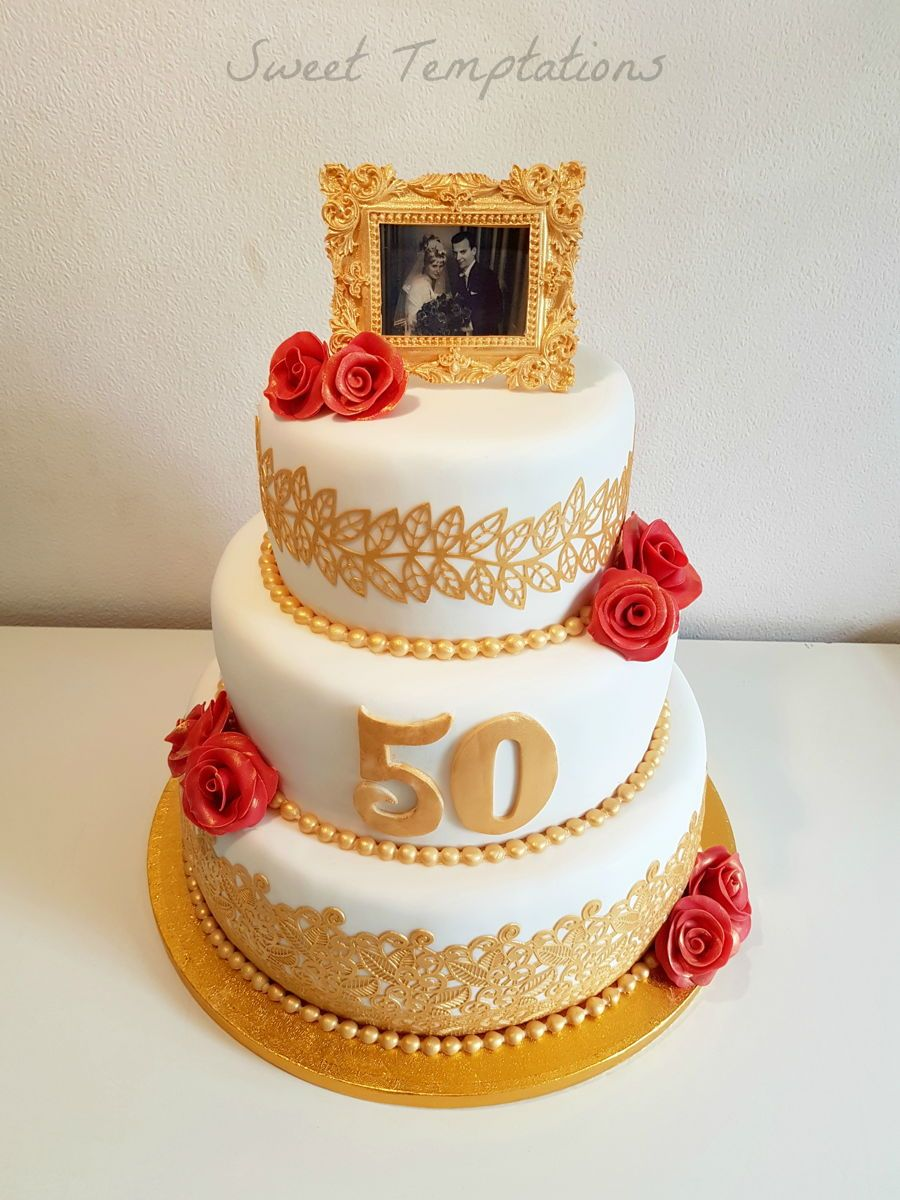 Golden Wedding Cake Cake For 50th Wedding Anniversary For My Aunt And Uncle  U0026#10084;Frame Is Made Of Gumpaste.