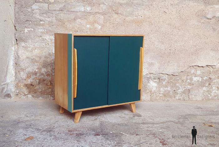 Meuble vintage en bois portes coulissantes bleu canard