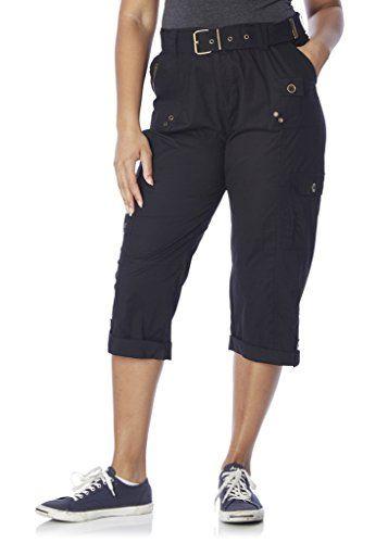 28207XRABLACK2X Rouge Collection Women Stretch Capri Pants Plus ...