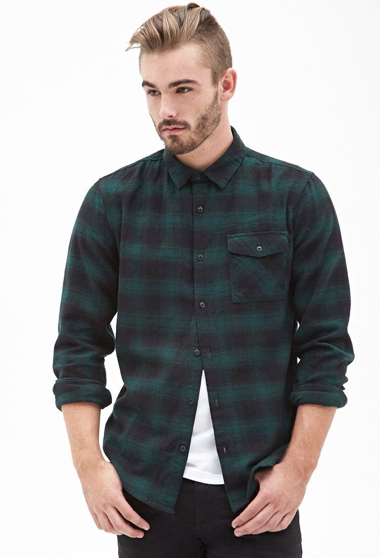 Blurred Plaid Flannel Shirt In Green Black 21 Men