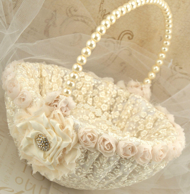 Flower Girl Basket Bridal Basket in Ivory and Cream by SolBijou, via Etsy.