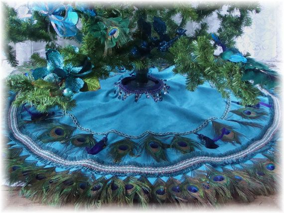 52 Peacock Feather Tablecover Christmas Tree Skirt or by Ivyndell, $475.00