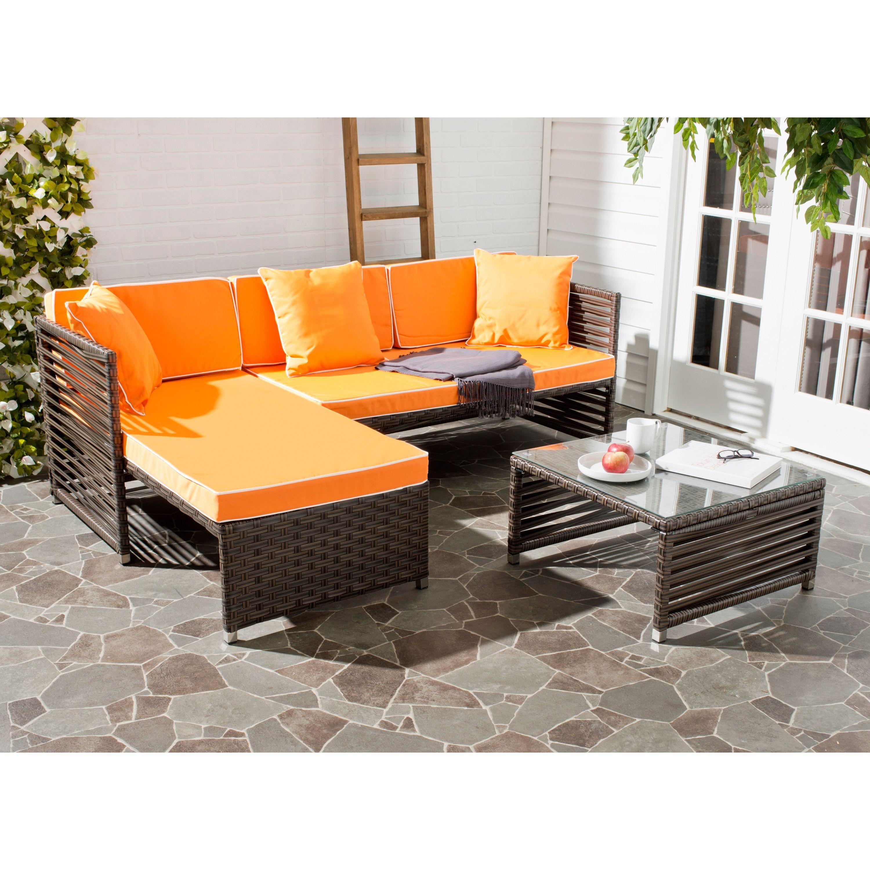 Safavieh Likoma Brown Rattan Orange Cushion/ Pillow White Piping ...