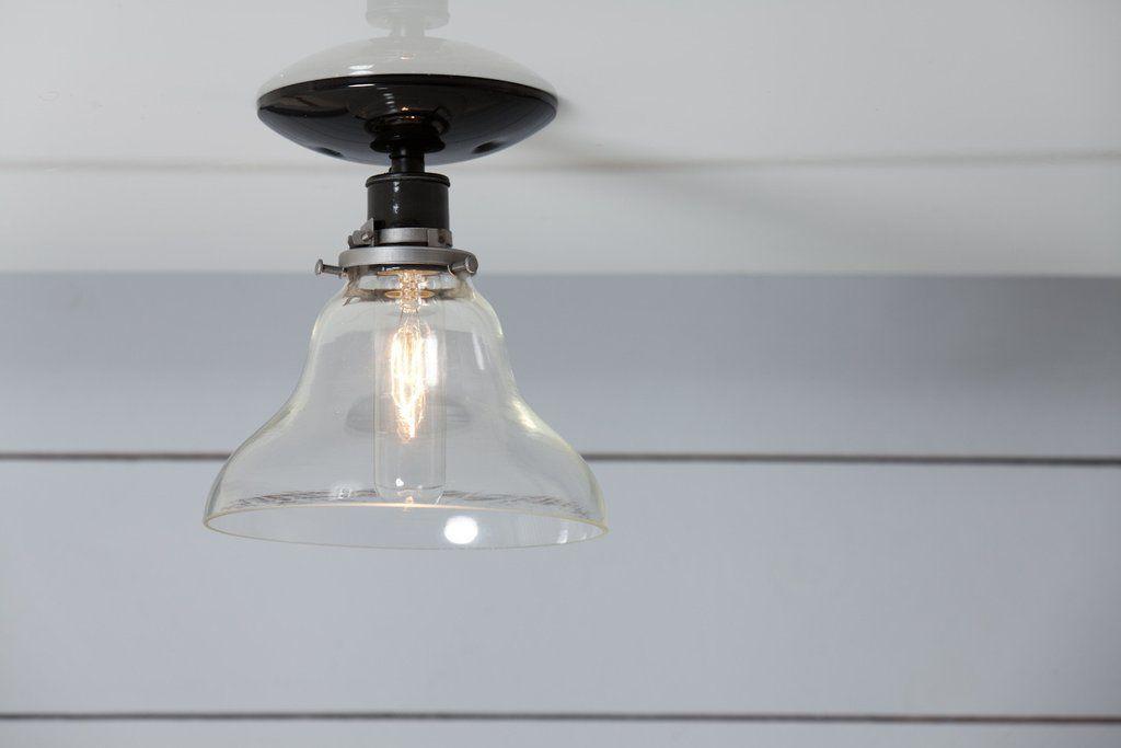 Glass Bell Shade Light Ceiling Mount Semi Flush Mount