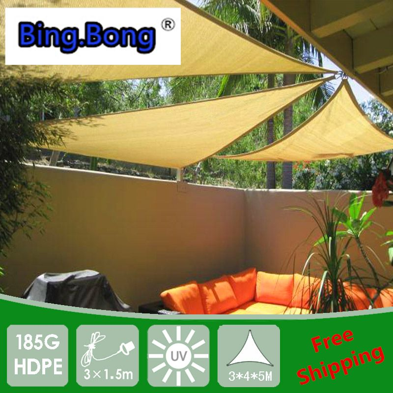 outdoor sun shade net hdpe mesh gazebo awning triangles anti uv sun shade sail 3 4