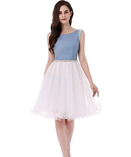 SHDRESS Beaded Denim Tulle Short Prom Party Dresses Homecoming Dress ...