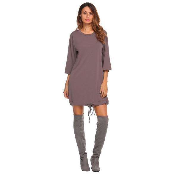 Loose 3/4 Sleeve Drawstring Hem Short Straight Dress