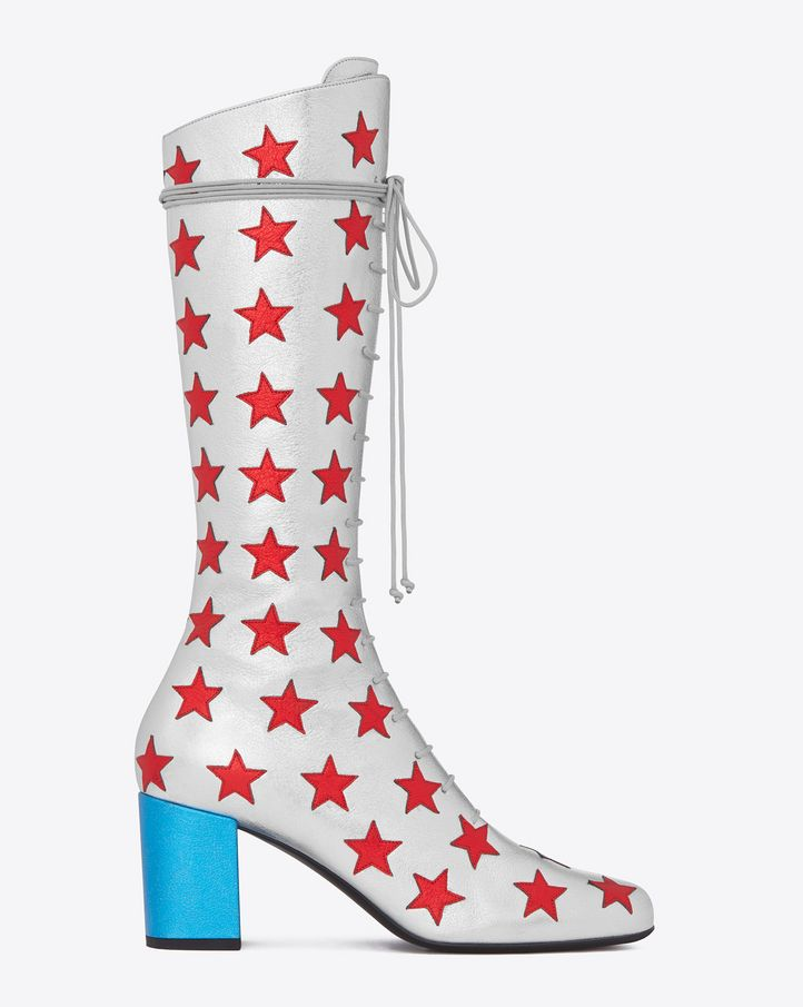 67e48406ba5 Saint Laurent BABIES 70 Lace Up Stars BOOT IN Silver, Red And Turquoise  Metallic Leather - ysl.com