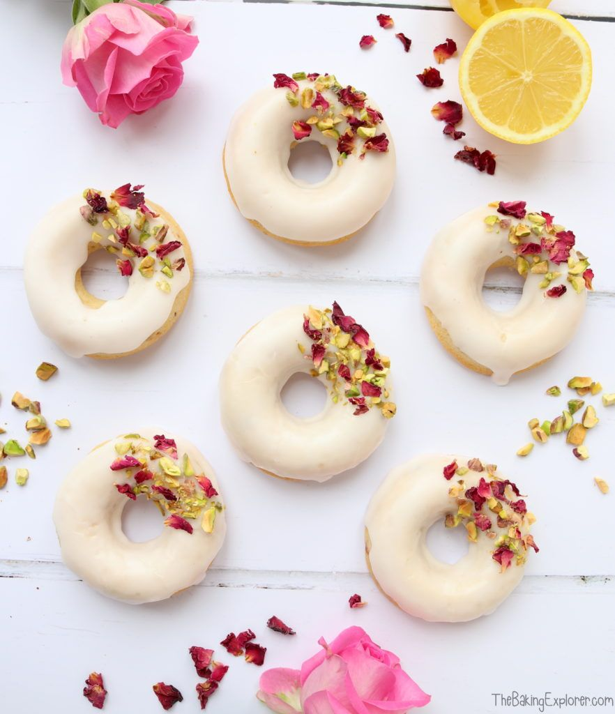 Photo of Rose, Lemon & Pistachio Baked Donuts