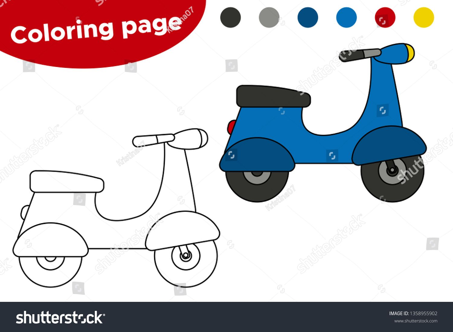 Vector Coloring Page Cartoon Scooter Bike Educational Game For