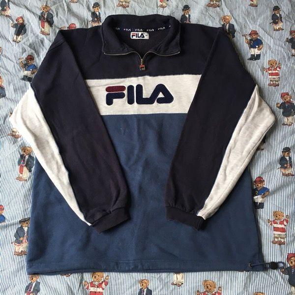 32e184e9b833 Image of Vintage Fila 1/4 Zip Sweatshirt (M)   Grunge   Vintage ...